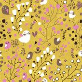 Světlé květinové bezešvé vzor v romantickém stylu. kreslený ptáci a motýli v srdce a květiny. bezešvé vzor lze použít pro tapety, pozadí webové stránky, povrchové textury. — Stock vektor