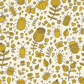 Spring seamless pattern. Vintage floral background with cute insects — Stok Vektör