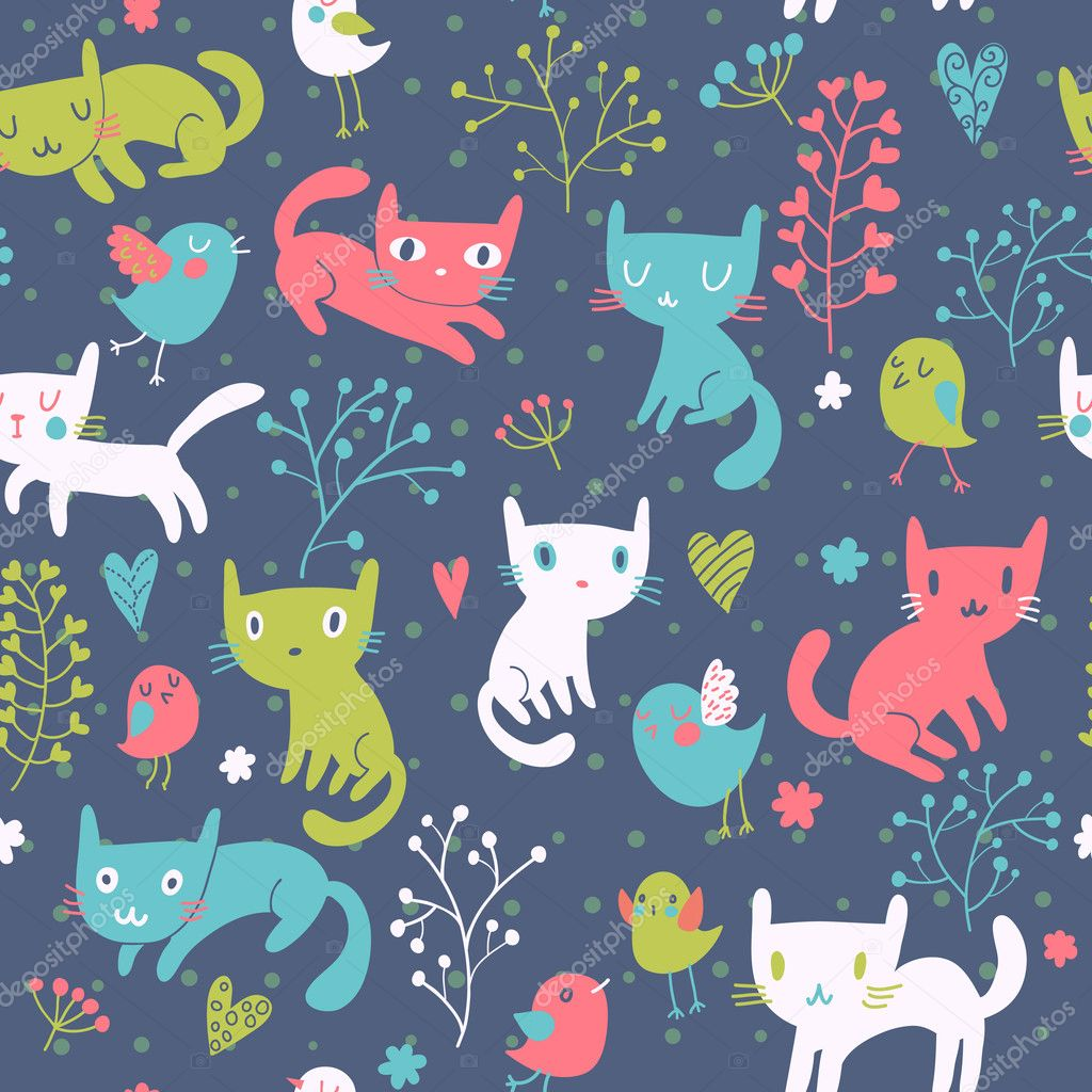 Funny cats cartoon seamless pattern for children - Cartoon cat background ...