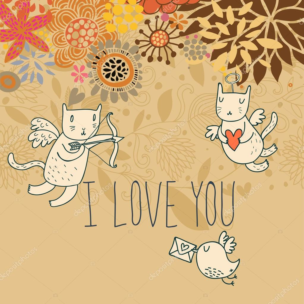 Cartone animato sfondo romantico con amorini gatti