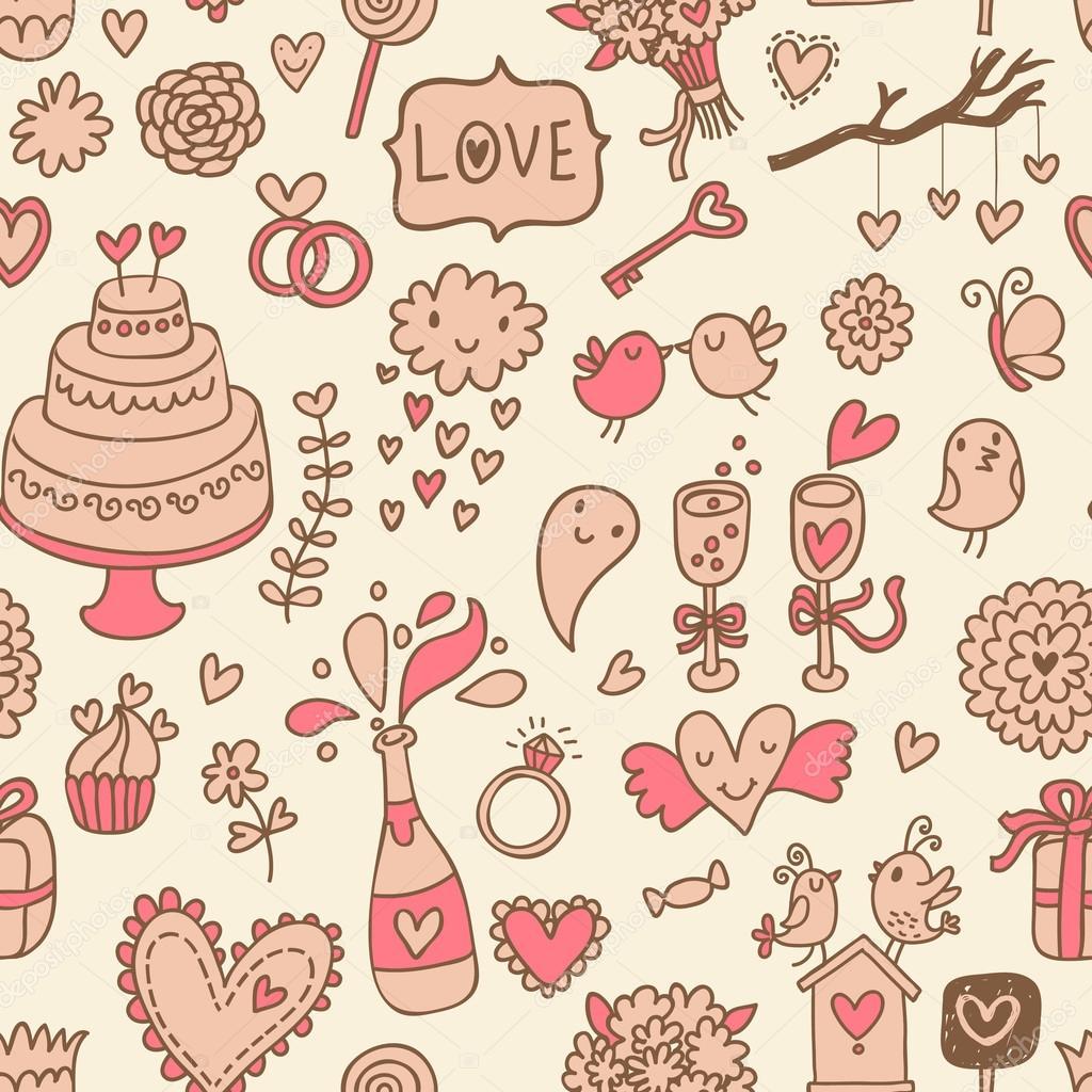 Süße romantische Hochzeit nahtlose Muster. Vektor-Einladung. süß ...