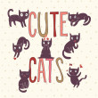 Cute cats in vector — Vector de stock #25056947