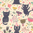 Romantic cartoon wallpaper. Childish background with funny cats and flower. Seamless pattern can be used for wallpapers, pattern fills, web page backgrounds, surface textures. — Stock Vector #25056971