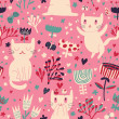 Romantic cartoon wallpaper. Childish background with funny cats and flower. Seamless pattern can be used for wallpapers, pattern fills, web page backgrounds, surface textures. — Grafika wektorowa
