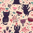 Romantic cartoon wallpaper. Childish background with funny cats and flower. Seamless pattern can be used for wallpapers, pattern fills, web page backgrounds, surface textures. — Stock Vector #25056993