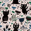 Romantic cartoon wallpaper. Childish background with funny cats and flower. Seamless pattern can be used for wallpapers, pattern fills, web page backgrounds, surface textures. — Stock Vector #25056997