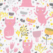 Romantic cartoon wallpaper. Childish background with funny cats and flower. Seamless pattern can be used for wallpapers, pattern fills, web page backgrounds, surface textures. — Stock Vector #25056999