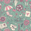 Vintage seamless pattern with cute cartoon elements. Seamless pattern can be used for wallpaper, pattern fills, web page backgrounds, surface textures. — Imagen vectorial