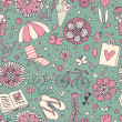 Vintage seamless pattern with cute cartoon elements. Seamless pattern can be used for wallpaper, pattern fills, web page backgrounds, surface textures. — Векторная иллюстрация