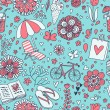 Vacation concept illustration. Vintage seamless pattern for travel wallpapers — Grafika wektorowa