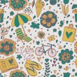 Vintage seamless pattern with cute cartoon elements. Seamless pattern can be used for wallpaper, pattern fills, web page backgrounds, surface textures. - Stock Vector