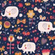 Cartoon orange elephants in flowers with butterflies. Seamless pattern can be used for wallpapers, pattern fills, web page backgrounds, surface textures. Gorgeous childish seamless background — Stock Vector #25057101