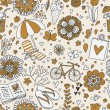 Vintage seamless pattern with cute cartoon elements. Seamless pattern can be used for wallpaper, pattern fills, web page backgrounds, surface textures. — Stockvektor