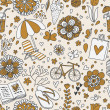 Vintage seamless pattern with cute cartoon elements. Seamless pattern can be used for wallpaper, pattern fills, web page backgrounds, surface textures. — Stock Vector #25057103