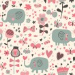 Cartoon seamless pattern for children's wallpapers. Cute elephants in flowers and butterflies — Stock Vector