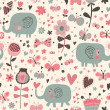 Cartoon seamless pattern for children's wallpapers. Cute elephants in flowers and butterflies — Stock Vector #25057113