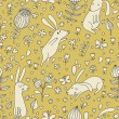 Rabbits on flower meadow. Cartoon seamless pattern with nice cute hares in vector. — Stock Vector #25057139