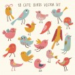 cute cartoon vogels - grappige vector set — Stockvector