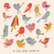 cute vogels in vector. Cartoon set — Stockvector