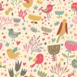 Colorful cartoon seamless pattern. Cute birds in flowers — Stock Vector