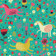 Childish cartoon seamless pattern  funny horses in flowers. Seamless pattern can be used for wallpapers, pattern fills, web page backgrounds, surface textures. - Stock Vector
