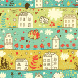 Cartoon town. Seamless concept pattern in vintage style — Imagen vectorial