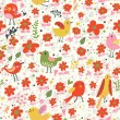 Bright seamless pattern with birds and flowers . Seamless pattern can be used for wallpapers, pattern fills, web page backgrounds, surface textures. Gorgeous seamless floral background — Stock Vector #25057335