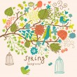 Birds on the tree ni flowers out of cages. Spring concept background in vector. Floral composition can be used ans wedding invitation — Vector de stock