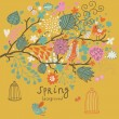 Birds on the tree ni flowers out of cages. Spring concept background in vector. Floral composition can be used ans wedding invitation — Stock Vector #25057363