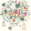 Birds on the tree ni flowers out of cages. Spring concept background in vector. Floral composition can be used ans wedding invitation - Stok Vektr