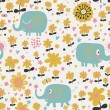 Indian elephants in flowers. Cute cartoon wallpaper. Seamless pattern can be used for wallpapers, pattern fills, web page backgrounds, surface textures. — Stock Vector