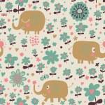 Funny elephants in flowers. Cute cartoon children's illustration — Stock Vector #25057389