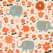 Funny elephants in flowers. Cute cartoon children's illustration — Stock Vector
