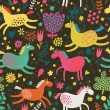 Joyful horses on flower field. Cute cartoon seamless pattern — Vettoriali Stock