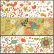 Bright floral banners in vector. Birds and butterflies in flowers. Summer concept cards — Stock Vector