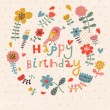 Beautiful happy birthday greeting card with flowers and bird. Vector party invitation with floral elements. — Stockvector