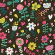 Cute seamless floral pattern. Copy square to the side and you'll get seamlessly tiling pattern which gives the resulting image ability to be repeated or tiled without visible seams. — Stockvectorbeeld