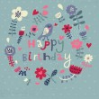 Beautiful happy birthday greeting card with flowers and bird. Vector party invitation with floral elements. — Stock Vector #25057499