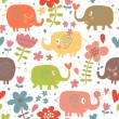 Stock Vector: Cartoon funny childish elephants in flowers. Cute seamless pattern for nice backgrounds