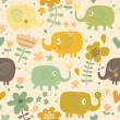 Cartoon funny childish elephants in flowers. Cute seamless pattern for nice backgrounds — Stock Vector