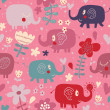 Cartoon funny childish elephants in flowers. Cute seamless pattern for nice backgrounds — Stock Vector #25057659