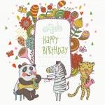Cartoon funny panda, zebra and leopard congratulating happy birthday. Nice holiday card in vector — Stock Vector #25057753