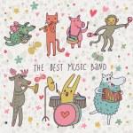 la migliore band di musica. cartoon animali giocando su vari strumenti musicali - percussioni, fisarmonica, flauto, tromba in vettoriale — Vettoriale Stock