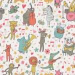 Animals musicians: lion, leopard, elephant, pig, cat, dog, panda, bear, elk, alligator, monkey, sheep, rabbit and zebra in cartoon seamless pattern in vector — Stock Vector #25057833
