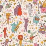 Animals musicians: lion, leopard, elephant, pig, cat, dog, panda, bear, elk, alligator, monkey, sheep, rabbit and zebra in cartoon seamless pattern in vector — Stock Vector