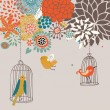 Stock Vector: Birds in cages. Cartoon floral background in vector. Spring concept