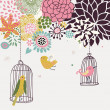 Birds in cages. Cartoon floral background in vector. Spring concept — Stock Vector #25057995