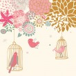 Birds in cages. Cartoon floral background in vector. Spring concept — Stockvectorbeeld
