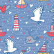 Marine concept seamless pattern. Whale, boat, ship, lighthouse, seagull in funny cartoon background in vector — Stock Vector