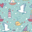 Royalty-Free Stock Vector Image: Marine concept seamless pattern. Whale, boat, ship, lighthouse, seagull in funny cartoon background in vector